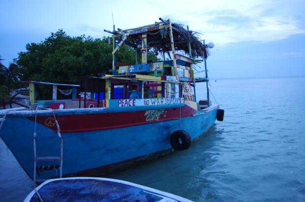 Peace boat at Caye Culker, Belize