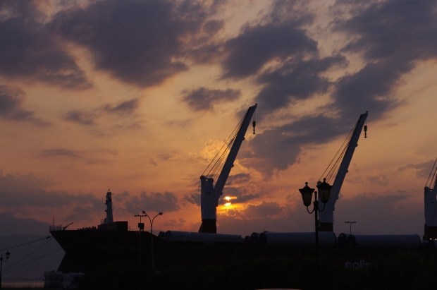 Industrial shipping yard in Nafplio, Greece, June 2011