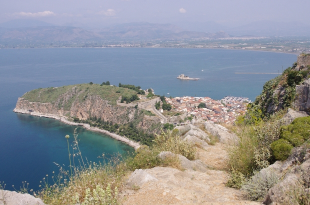 View of Nafplio's harbor from a castle above the city. Greece, June 2011