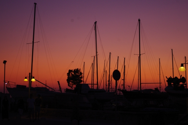 Marina at sunset in Paros, Greece, July 2011
