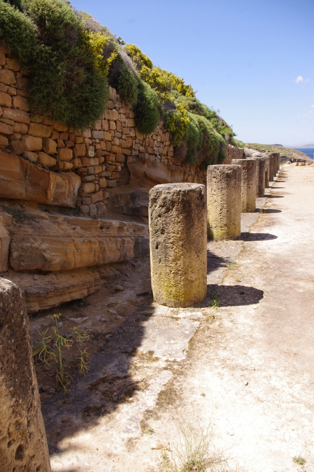 Columns from ruins in the Hephaistia, Lemnos, Greece